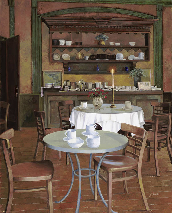 Cafe Poster featuring the painting Al Lume Di Candela by Guido Borelli