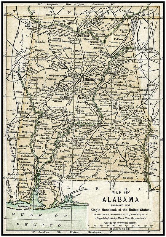 Alabama Poster featuring the photograph Alabama Antique Map 1891 by Phil Cardamone