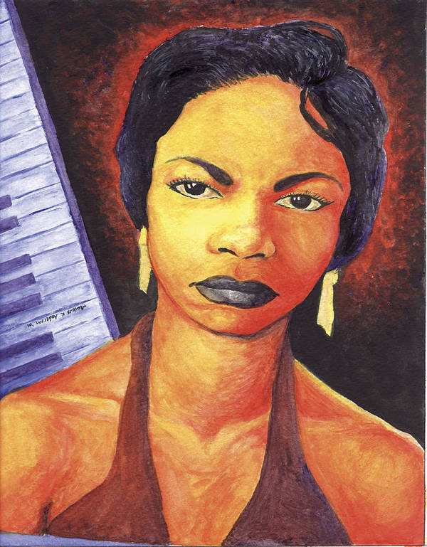 Nina Simone Poster featuring the painting Alabamas Got Me So Upset by Marcus Anderson