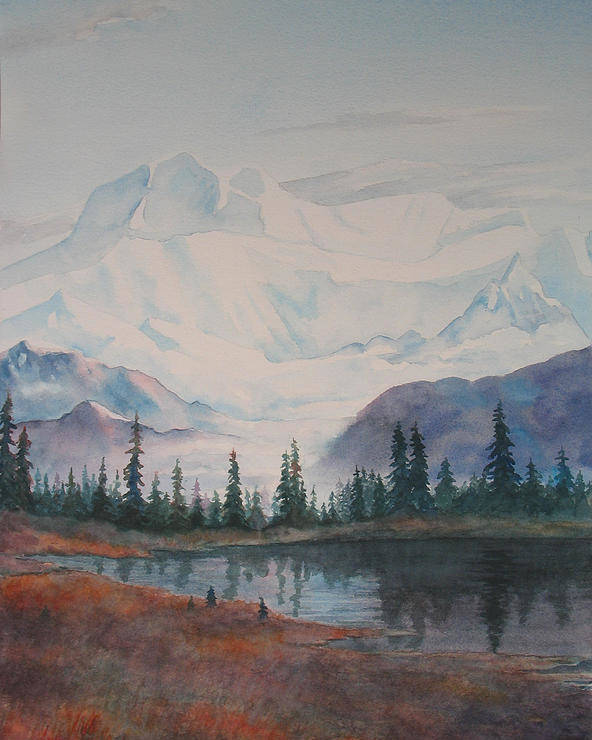 Alaska Poster featuring the painting Alaksa Mountain And Lake by Debbie Homewood