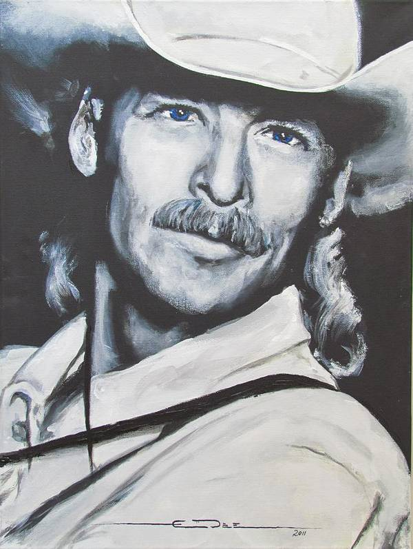 Alan Jackson Poster featuring the painting Alan Jackson - In the Real World by Eric Dee