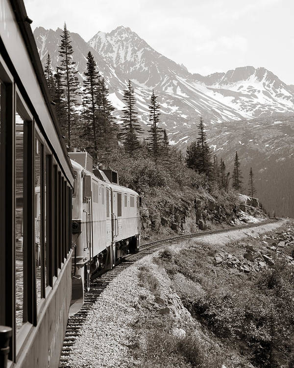 Alaskan Train Poster featuring the pyrography Alaskan Train by Will Edwards