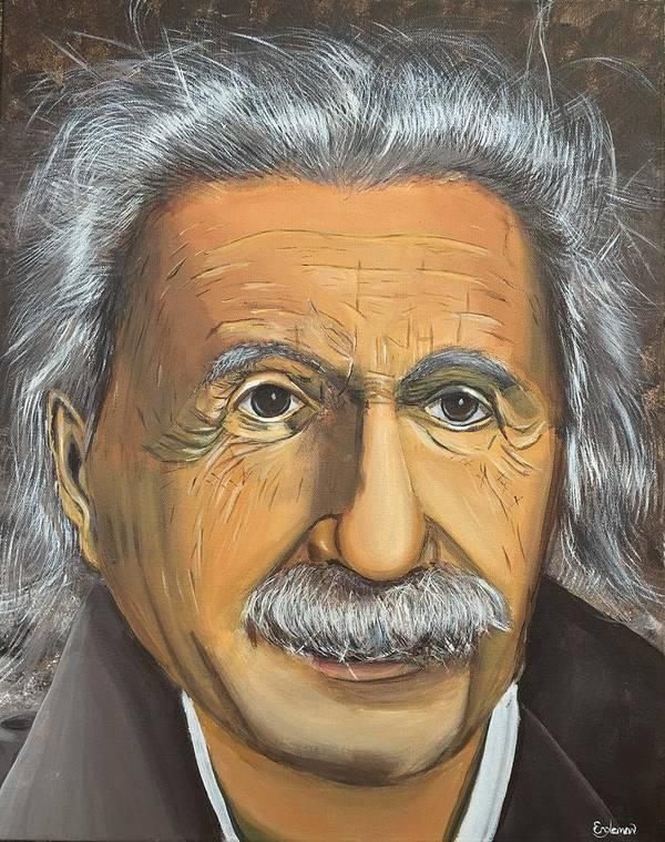 Einstein Poster featuring the painting Albert Einstein by Grayson Engleman