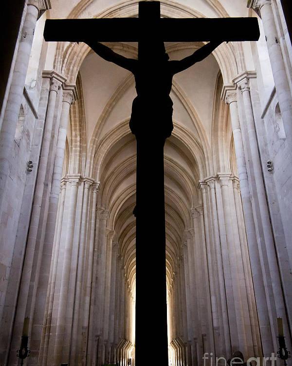 Jesus Poster featuring the photograph Alcobaca Monastery Church Crucifix by Jose Elias - Sofia Pereira