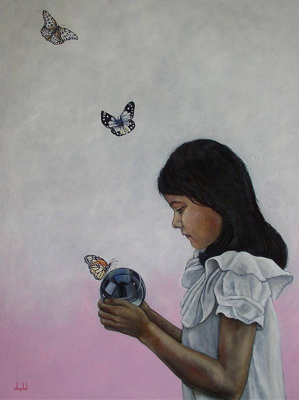 Butterflies Poster featuring the painting Alexandria Of The Butterflies by Ixchel Amor