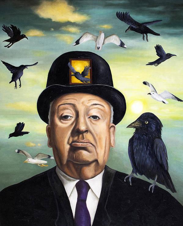 Alfred Hitchcock Poster featuring the painting Alfred Hitchcock by Leah Saulnier The Painting Maniac