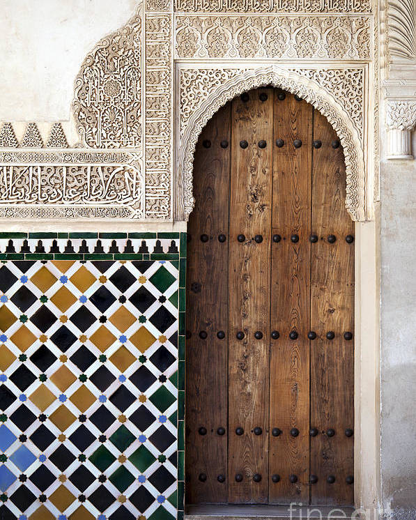 Alhambra Poster featuring the photograph Alhambra Door Detail by Jane Rix