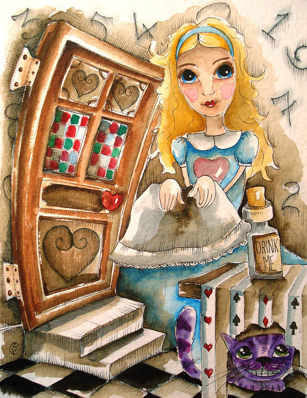 Lucia Stewart Poster featuring the painting Alice In Wonderland 2 by Lucia Stewart