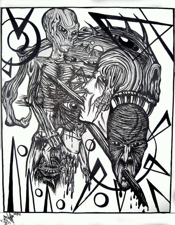 Alien Poster featuring the drawing Alien 1 by Leigh Odom