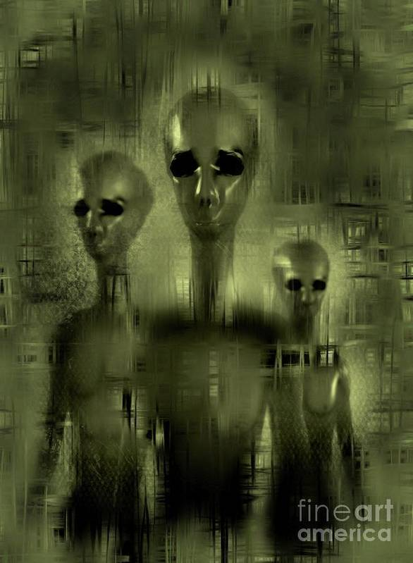 Ufo Poster featuring the digital art Alien Brothers by Raphael Terra