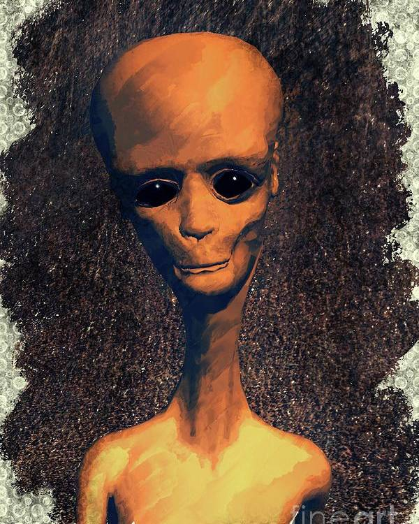 Ufo Poster featuring the painting Alien Portrait by Raphael Terra