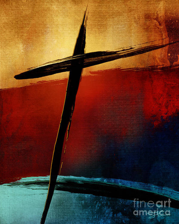 Cross Poster featuring the mixed media All For You by Shevon Johnson