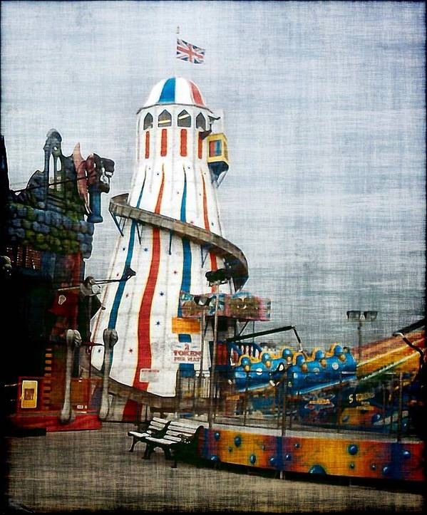 Brighton Uk Pier Sussex England Seaside Fairground Poster featuring the photograph All Quiet On The Pier by Susan Epps Oliver