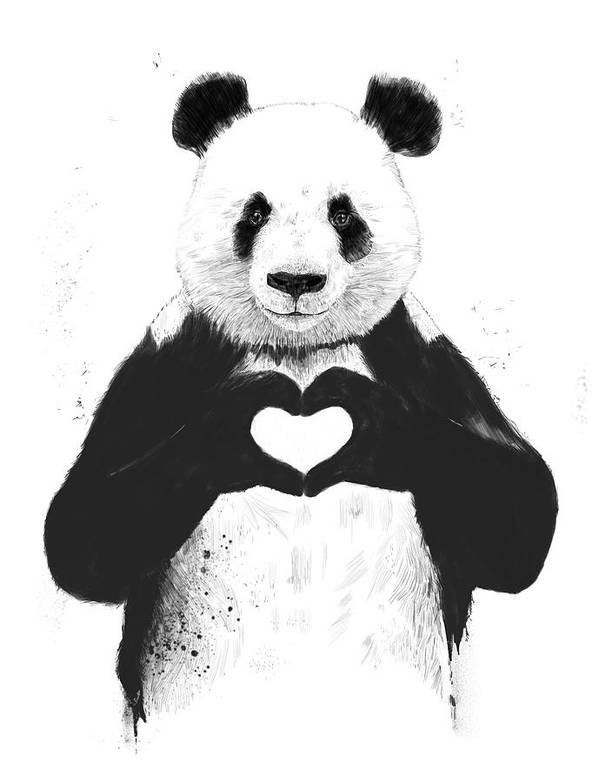 Panda Poster featuring the painting All you need is love by Balazs Solti