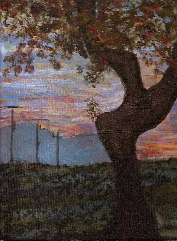 Landscape Poster featuring the painting Along The Highway To Santa Fe by Rika Maja Duevel