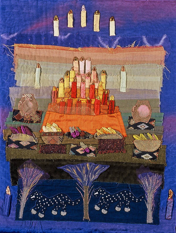 Art Quilt Poster featuring the tapestry - textile Altar With Trees by Roberta Baker
