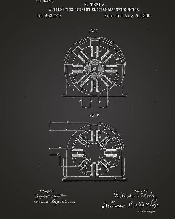 nikola tesla alternating current. patent drawing poster featuring the alternating current electro magnetic motor - nikola tesla