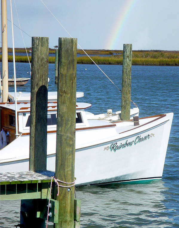 Boat Poster featuring the photograph Always Chasing Rainbows by Sharon Crawford