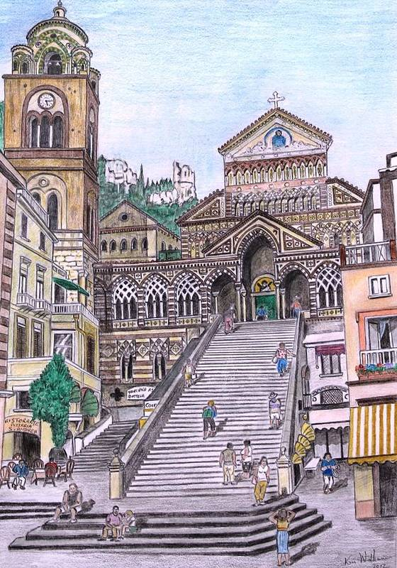 Fineart Poster featuring the drawing Amalfi by Kenvyn H N Williams