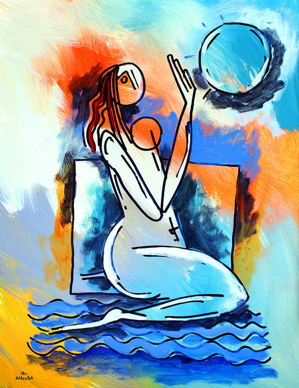Woman Poster featuring the painting Ameeba- Nude Woman On Beach 5 by Mr AMeeBA