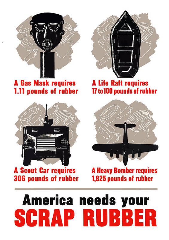 Conservation Poster featuring the painting America Needs Your Scrap Rubber by War Is Hell Store
