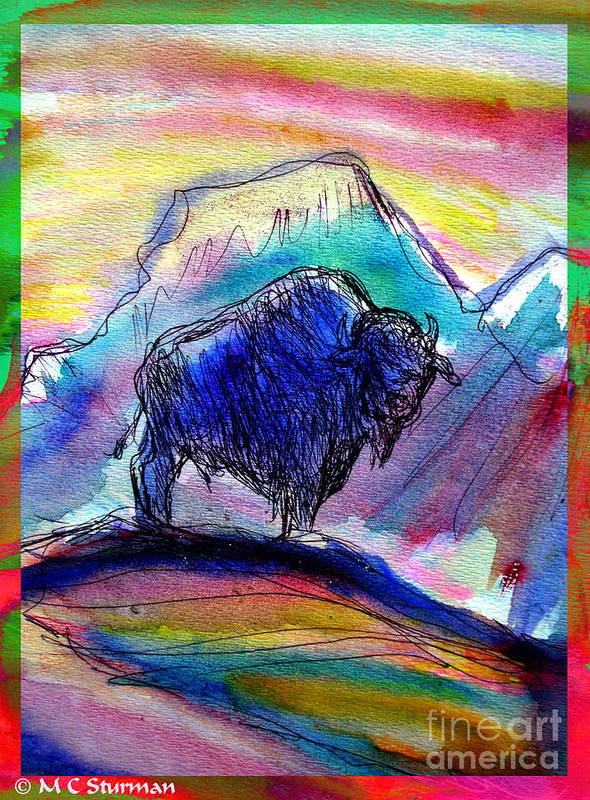 American Poster featuring the mixed media American Buffalo Sunset by M C Sturman