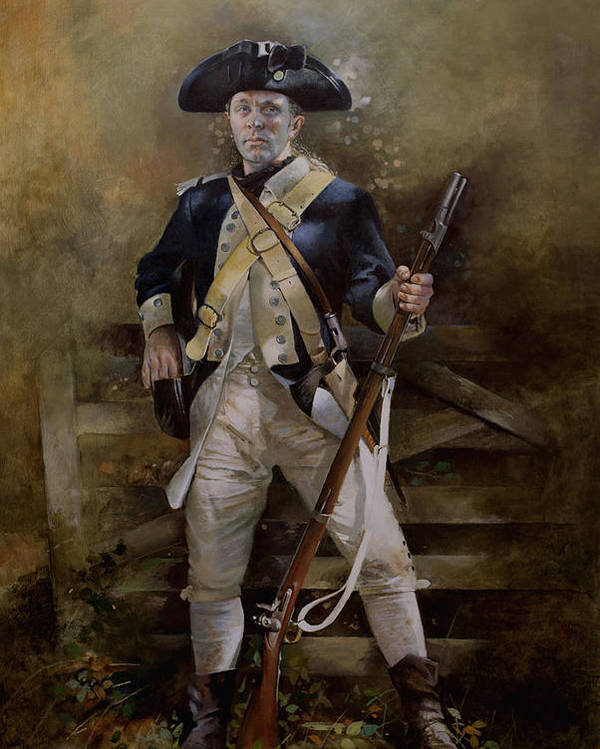 American War Of Independance Poster featuring the painting American Infantryman C.1777 by Chris Collingwood