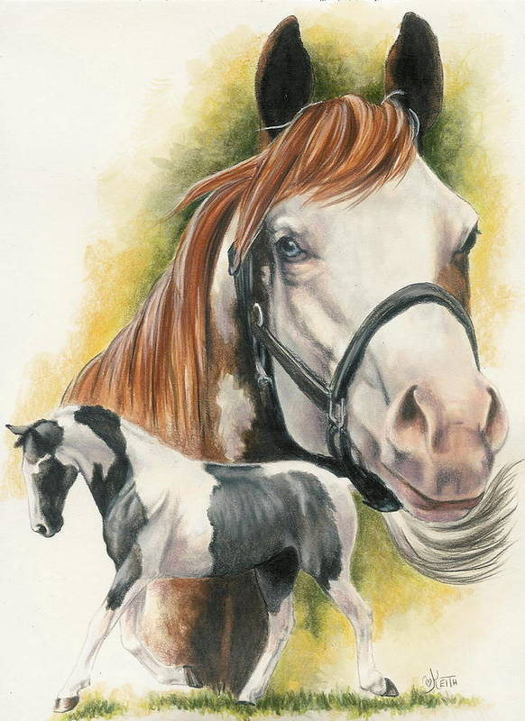 Horse Poster featuring the mixed media American Paint by Barbara Keith