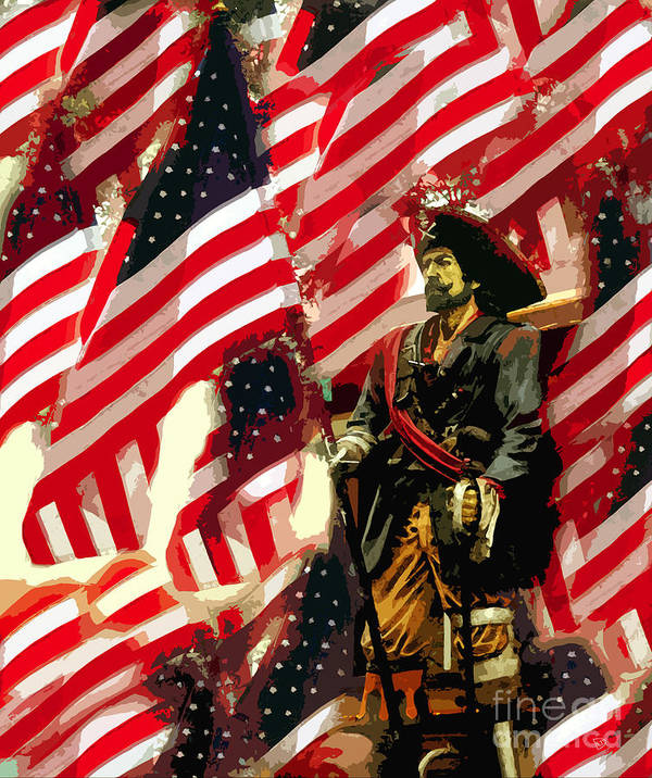 Pirate Poster featuring the painting American Pirate by David Lee Thompson