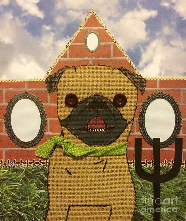 Poster featuring the mixed media American Pug Gothic by Purely Pugs Design