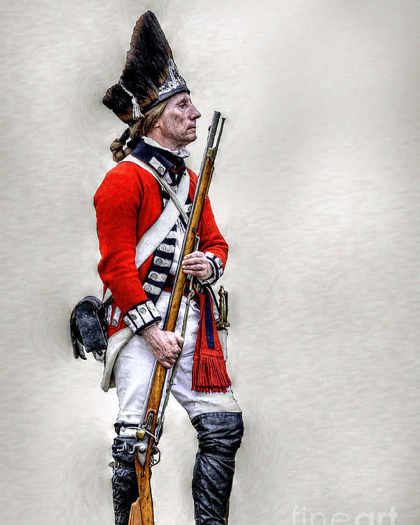 War Poster featuring the digital art American Revolution British Soldier by Randy Steele