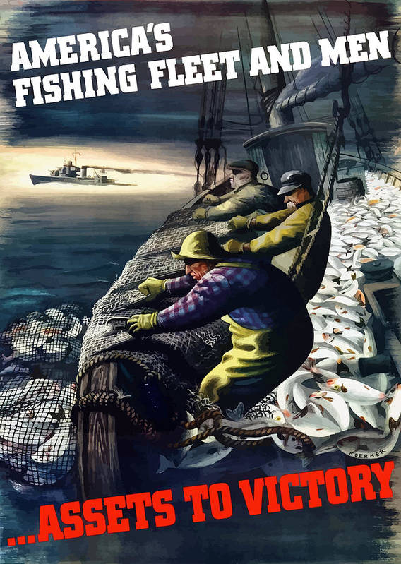 Fishing Poster featuring the painting America's Fishing Fleet And Men by War Is Hell Store