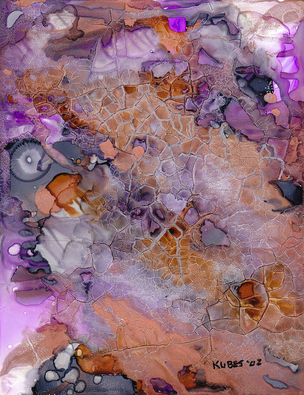Abstract Poster featuring the mixed media Amethyst And Copper by Susan Kubes