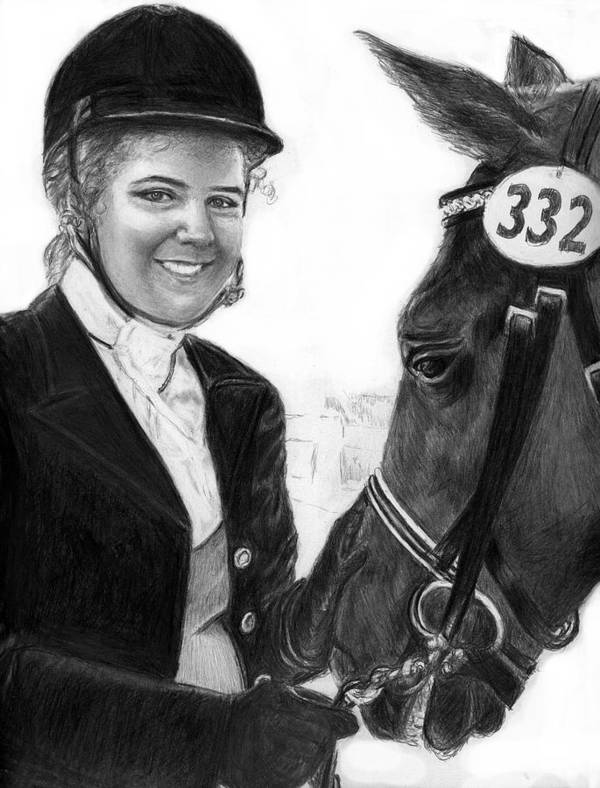 Horseequestrian Poster featuring the drawing Amira And Perias by Carliss Mora