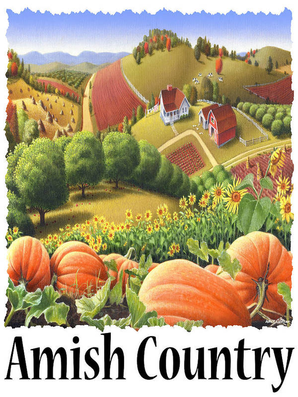 Amish Country Poster featuring the painting Amish Country - Pumpkin Patch Country Farm Landscape by Walt Curlee