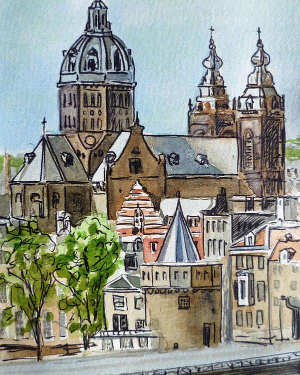Amsterdam Poster featuring the painting Amsterdam Holland by Irina Sztukowski