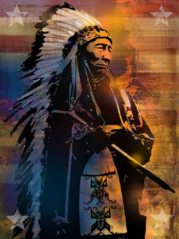 Native Americans Poster featuring the painting An American Sunrise by Paul Sachtleben