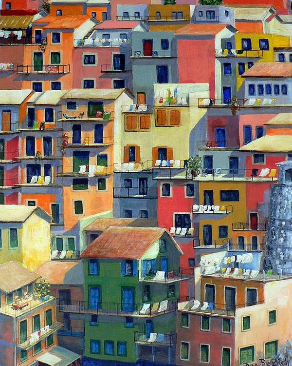 Manarola Poster featuring the painting An Italian Village by Dan Bozich