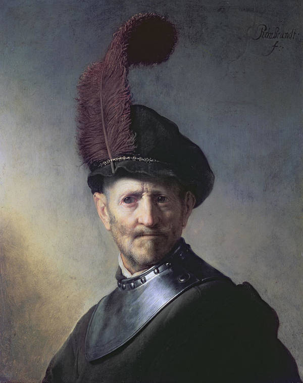 Old Poster featuring the painting An Old Man In Military Costume by Rembrandt