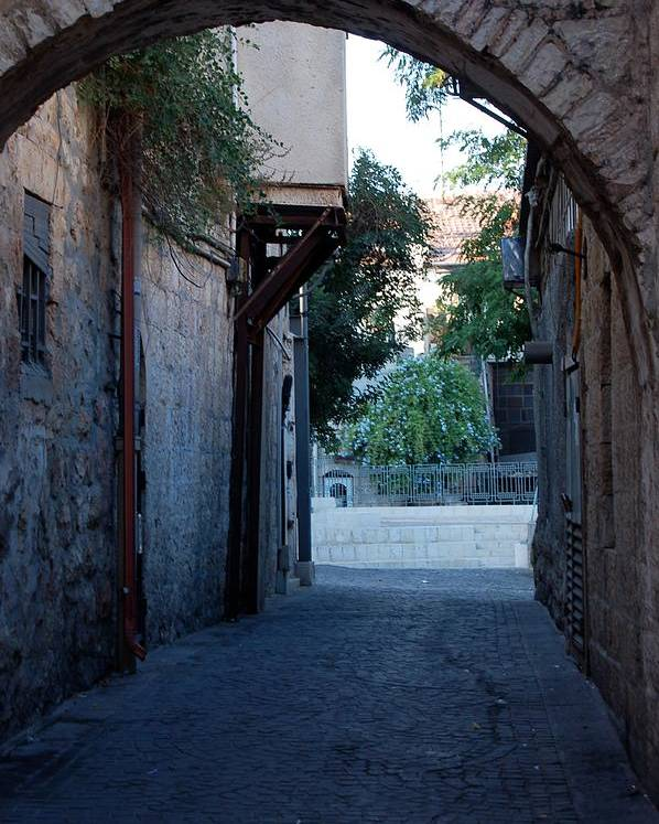 Jerusalem Poster featuring the photograph An Old Street In Jerusaem by Susan Heller