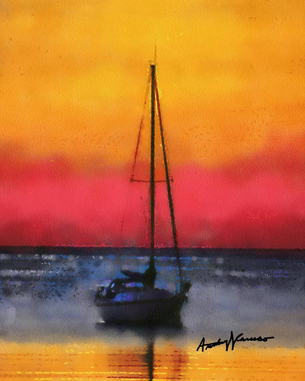 Sunset Poster featuring the painting Anchored by Anthony Caruso