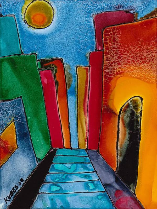 City Poster featuring the mixed media Ancient City by Susan Kubes