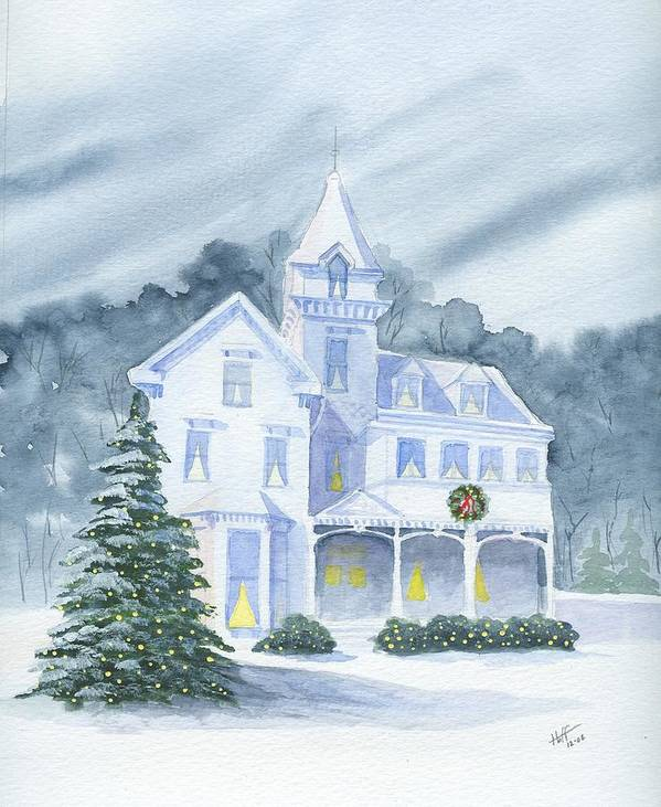 Winter Poster featuring the painting Anderson Mansion Christmas by Denise  Hoff
