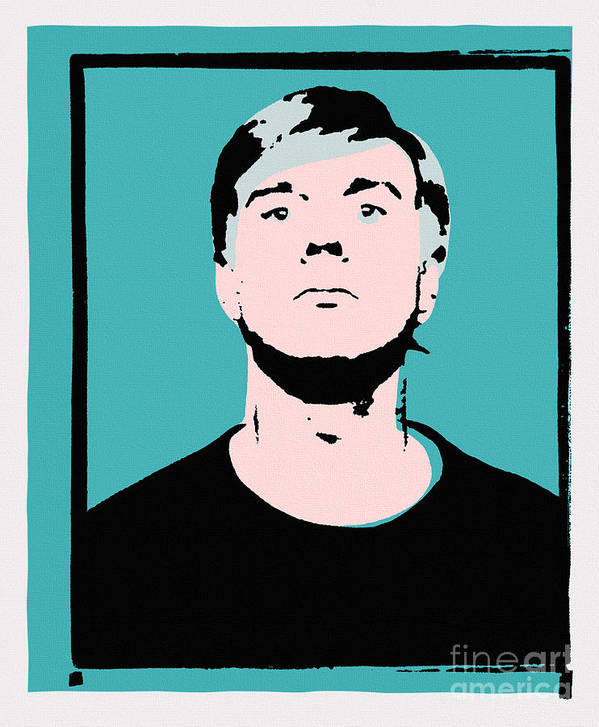Andy Warhol Poster featuring the painting Andy Warhol Self Portrait 1964 On Cyan - High Quality by Peter Potamus