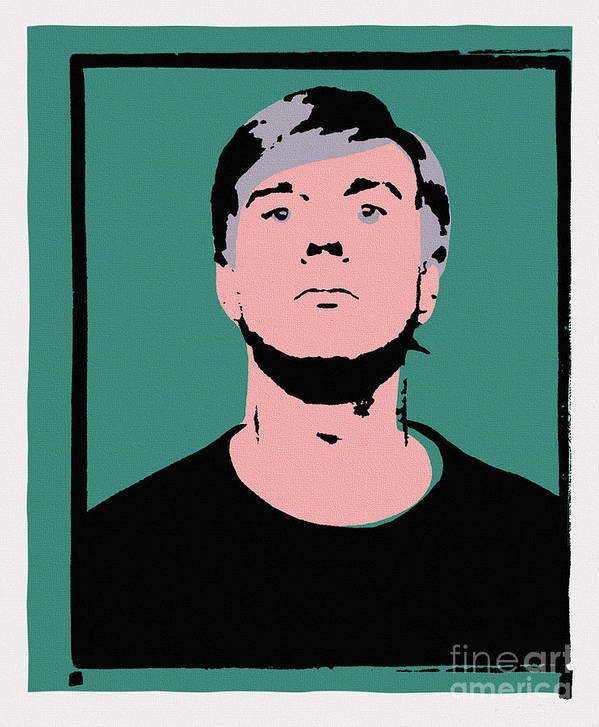 Andy Warhol Poster featuring the painting Andy Warhol Self Portrait 1964 On Green - High Quality - Stamp Edition 2012 by Peter Potamus