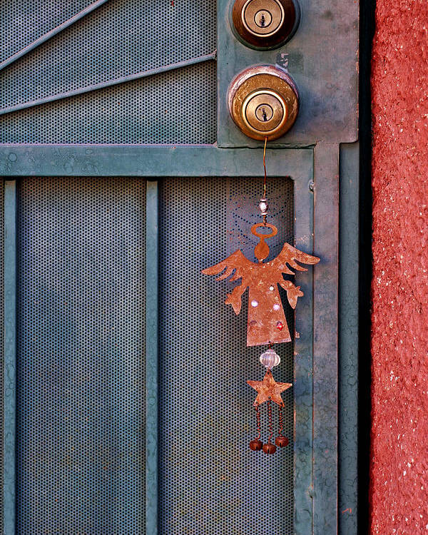 Angel Poster featuring the photograph Angel At The Door by Carol Leigh