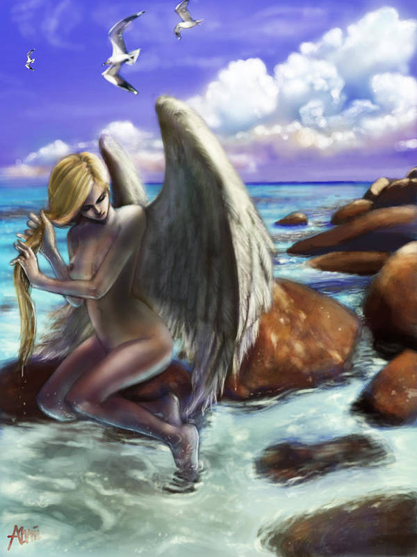 Angel Poster featuring the digital art Angel By The Waters by Alvin Goh