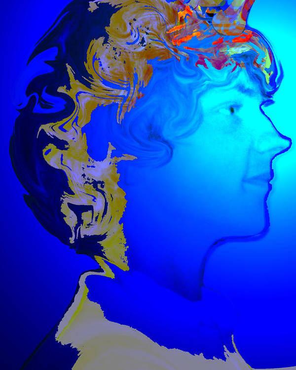 Angel Poster featuring the digital art Angel Dreams Of Earth by Helene Champaloux-Saraswati