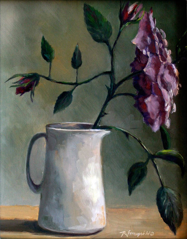 Rose Poster featuring the painting Angel Face And Pitcher by Ruth Stromswold