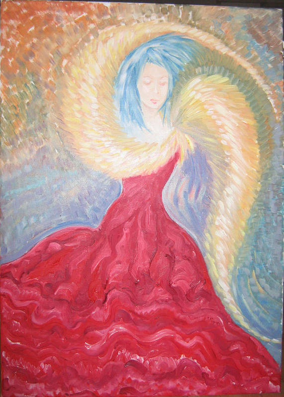 Angel Poster featuring the painting Angel Of Fire by Helene Champaloux-Saraswati